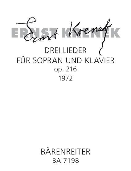 Krenek, Ernst: Drei Lieder (1972) für Sopran und Klavier