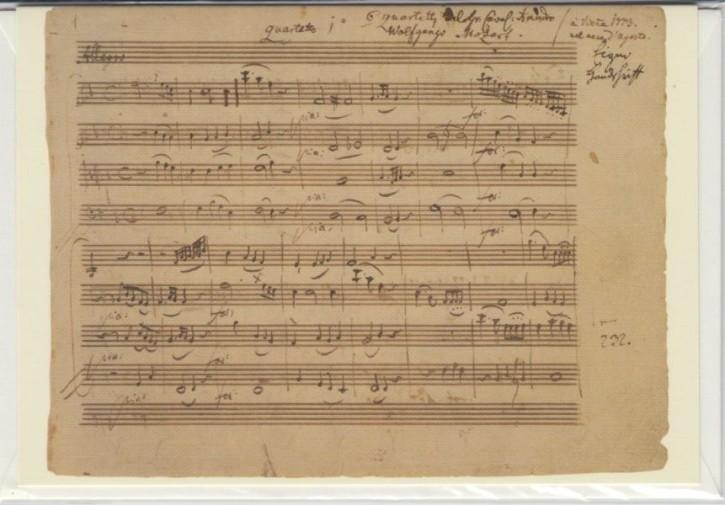 Faksimilepostkarte: Mozart - Quartett F-Dur KV 168