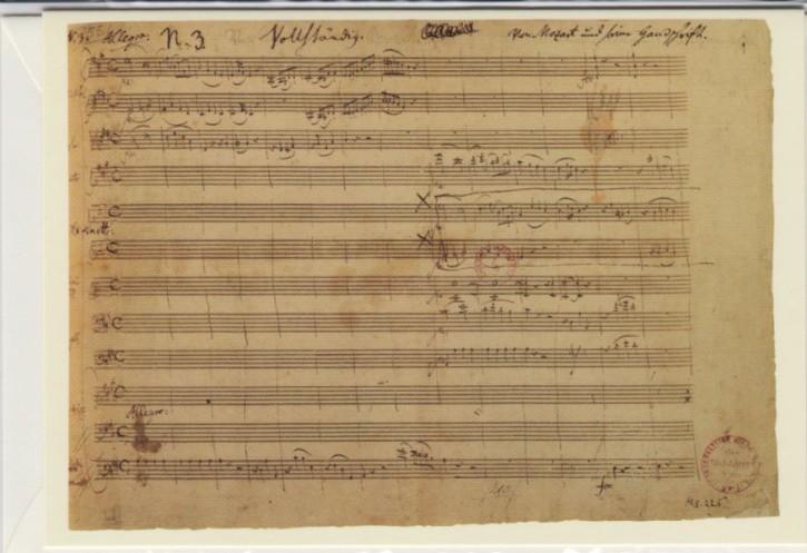 Faksimilepostkarte: Mozart - Klavierkonzert A-dur KV 488