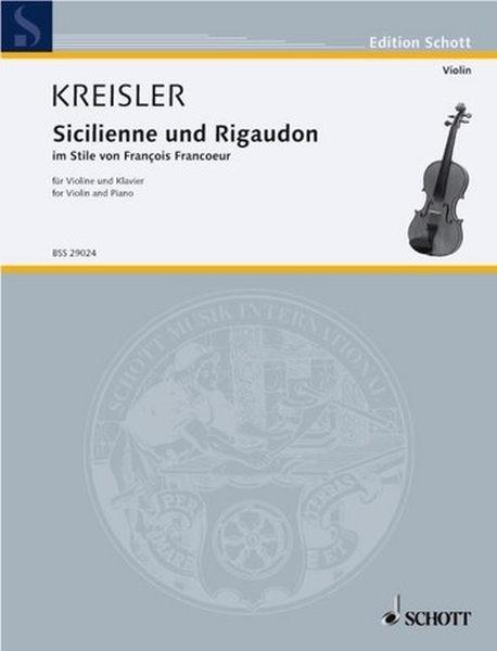 Kreisler Fritz: Sicilienne + Rigaudon im Stile von Francoeur