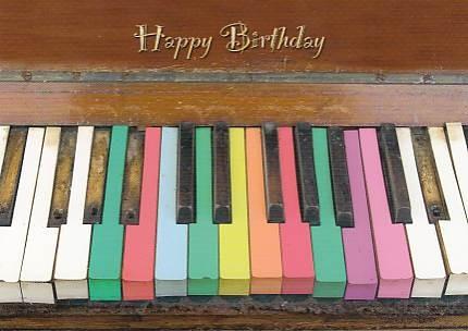 Postkarte: Happy Birthday Tasten