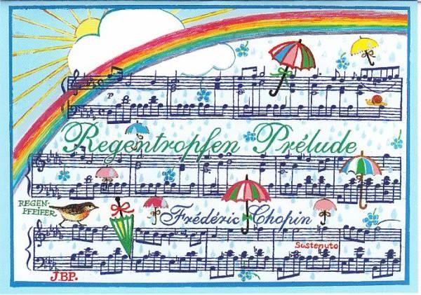 Kunst-Postkarte: Regentropfen Prélude