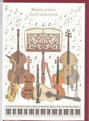 Doppelkarte: Herzlichen Glückwunsch - Instrumente