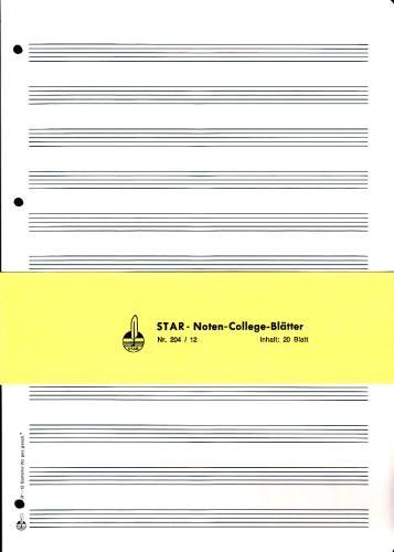 Noten-College-Blätter: Ringbucheinlagen 12 Systeme