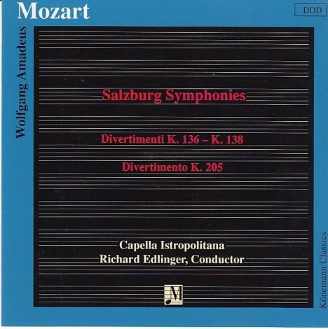 Mozart, Wolfgang Amadeus: Salzburger Symphonien